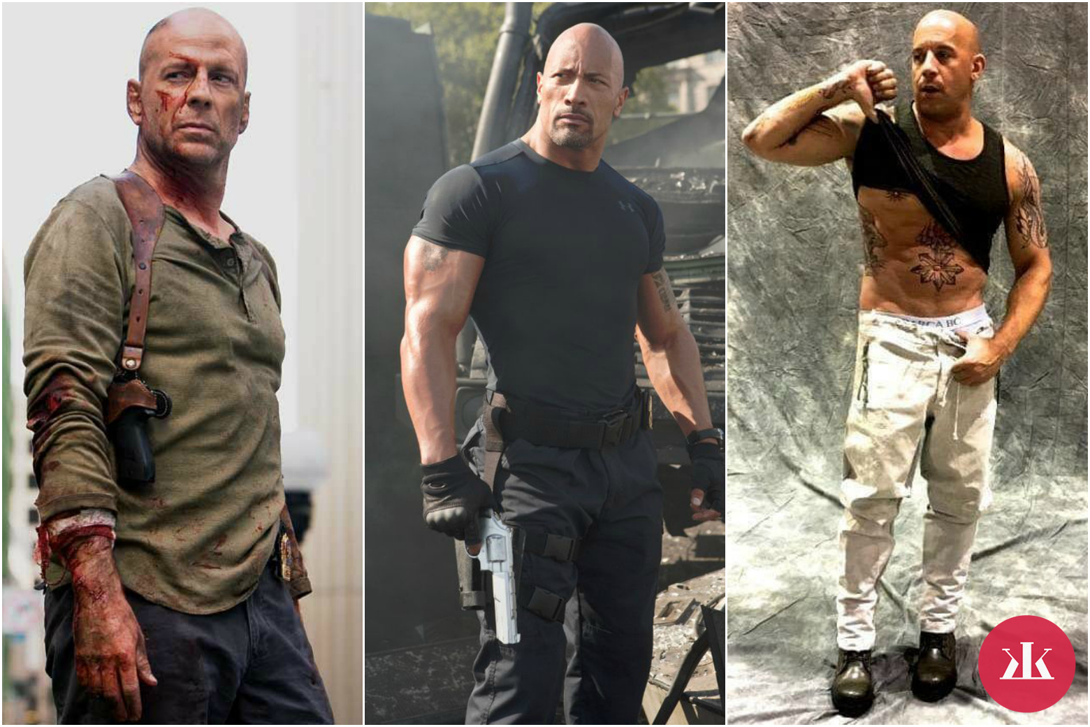 Bruce Willis, Dwayne Johnson, Vin Diesel