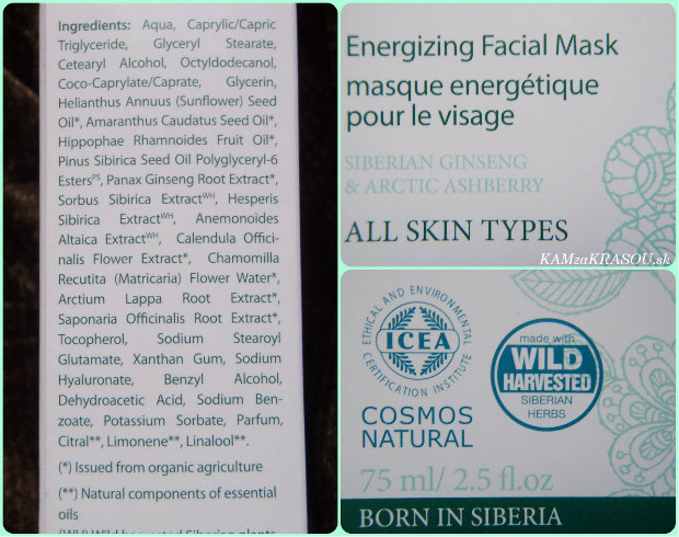 Natura Siberica Maska na tvár rýchla energia