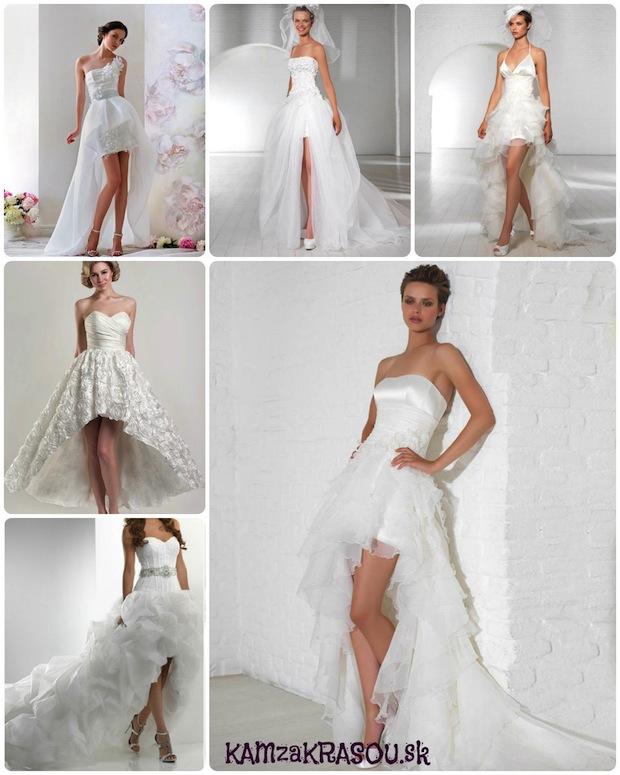 Svadobné šaty vpredu krátke vzadu dlhé
